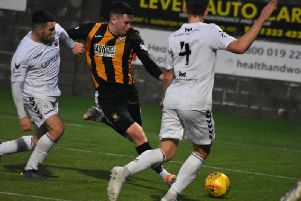 Anton Dowds looks to create another opening for the Fifers. Pic by Kenny Mackay.