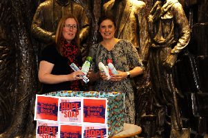 Cara Forrester and Heather Stuart launch the collection point at Rothes Halls (Pic: Fife Photo Agency)