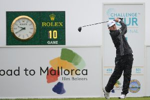 Connor Syme plays his tee shot on the first hole during day 4 of the Challenge Tour Grand Final at Club de Golf Alcanada on November 10, 2019 in Mallorca, Spain. (Photo by Aitor Alcalde/Getty Images)