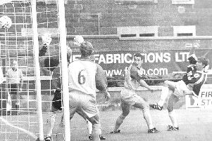 Craig Dargo scores against Ayr United during the 5-1 win for Raith Rovers in September 1999.