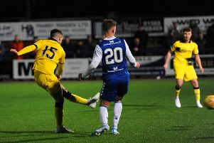 Brad Spencer scores Rovers' winning goal. (Pics by Fife Photo Agency)