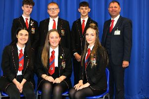 Senior pupils at St Andrew's RC High School with headteacher Patrick Callaghan in 2019.