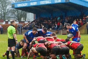 A Kirkcaldy scrum during Saturday's defeat to Stewart's Melville. Pic: Michael Booth
