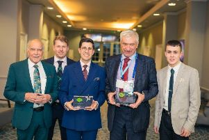 TPAS Staff Winner, from left, George Duncan (KHA Scrutiny Panel Member) ,'Matthew Busher (Head of Housing KHA), Max Scotto (TP Officer KHA), Peter Gibson (KHA Scrutiny Panel Member) and Aaron Cunningham (Former KHA SP Member)