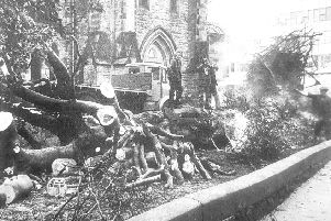 The clean up at St Brycedale Church in 1976