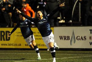 John Baird celebrates his equaliser for Raith Rovers in the 1-1 draw at Forfar. Pic: Fife Photo Agency