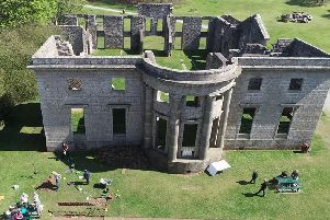 A drone image of the Mansion House dig by William Fowlie