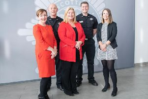 Pictured, left to right, are (MCR) Debby Barry, (SFRS) Group Commander Sandy Gilliespie, Director of People and Organisational Development Liz Barnes, Watch Commander Steven Morrison, (MCR) Kirsty Brennan