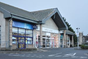 The high winds caused damage to a shopping centre in Stranraer.