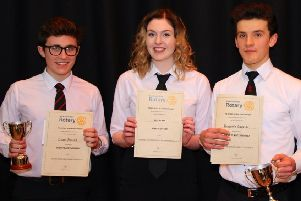 Pictured left to right are Euan Donald, Ellen Carr and Benjamin Garside.