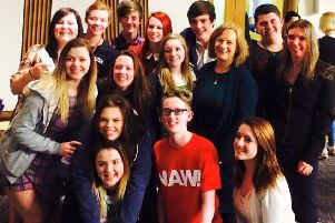 Joan McAlpine & Aileen McLeod pictured in 2015 with Ryan Youth Theatre who have received 2018 grant funding.