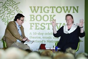 Sue Black pictured in her book show talk at the Wigtown Book Festival with event host Andrew Cassell. Picture: Colin Hattersley Photography