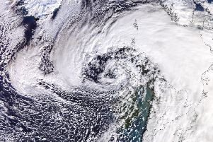 Images captured by the University of Dundee Satellite Receiving Station this afternoon show the full size of Storm Erik. Photo: University of Dundee
