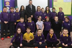 MSP Finlay Carson with Sheuchan pupils