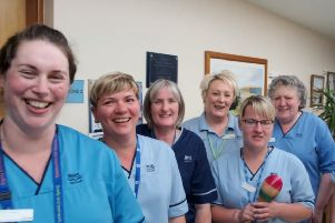 Staff at Newton Stewart Cottage Hospital make a lively contribution, having fun shooting their sequence in the video.