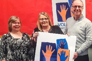 Backing the new vision are (l-r) Mary Mawson and Rose Baillie (Home-Start Wigtownshire), and Alex Dickson (Dumfries and Galloway Befriending Project)