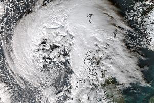 A satellite picture of Abigail which hit Scotland yesterday (Thursday). Picture: University of Dundee