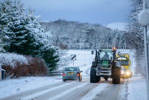 Snow on the A701 in Penicuik
