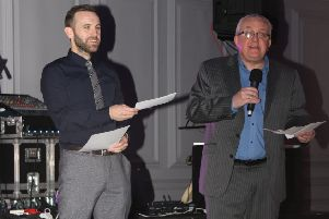 James McFadden and Tam Cowan at St Cadoc's charity night, Feb 2018 (Pic by Sophie O'Donnell)