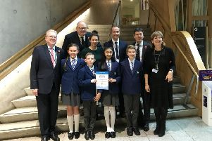 Calderwood Lodge Primary children pictured with Lord Pickles, Jackson Carlaw MSP and Ken Macintosh MSP.