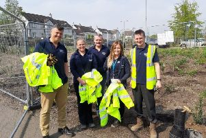 The Scottish Horizon team who helped the pupils plant trees.