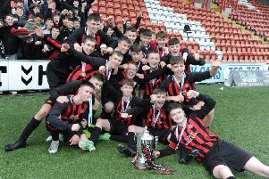 The victorious Giffnock Soccer Centre under-16 squad who won the Scottish Cup on Saturday