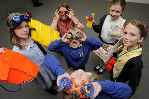 Some of the pupils at the Making Circles launch, with some of their sustainable goods. (Photo: Colin Hattersley)