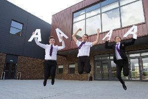 Barrhead High School pupils from left:  Euan Gilmour Taylor Philips and Calum Storrie all aged 17. (photo: Mark Gibson)