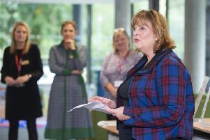 The Cabinet Secretary for Culture, Tourism and External Affairs, Fiona Hyslop,  announces the successful bids for this year's Public Library Improvement Fund (PLIF).' (Photo:Lesley Martin)