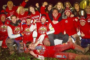 Glasgow Tigers riders and fans celebrate after their semi-final win