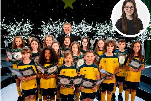 Violet( inset) and the children's choir . (Photo: Celtic FC)