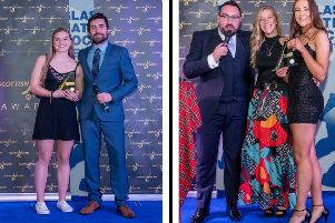 Left photo: Jess Buchanan with Jamie Frail, Head of Domestic Game for Scottish Hockey and  Right: Gavin Wallace, Kaz Cuthbert and Ava Smith