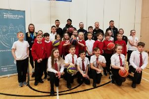 East Renfrewshire pupils 'Jump2It' with professional basketball players