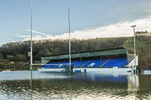 The flooded pitch of Hawick RFC after the River Teviot burst its banks after Storm Desmond tore through Britain in December