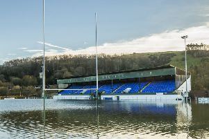 Hawick Rugby Club's pitch under water last December.