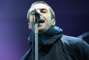 Liam Gallagher performing at Leeds Festival.