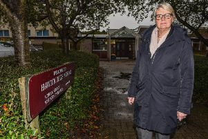 Hawick councillor Clair Ramage outside Hawick High School.