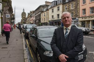 Councillor Davie Paterson in Hawick High Street.