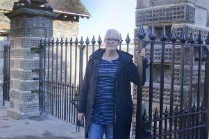 Councillor Clair Ramage at the gates to Hawick's Wilton Lodge Park.