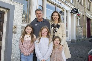 Stuart and Caja Sharkey at Hawick's Drumlanrig Bar with daughters Lily, Lola and Ruby.