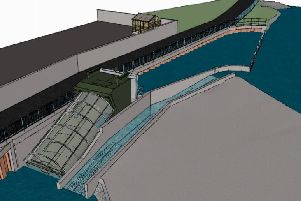 What the proposed water turbine generator at The Cauld could look like.