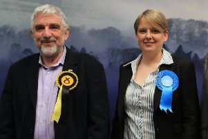 Standing together at the last election, but miles apart on the budget, Tweeddale East councillors Stuart Bell and Shona Haslam.