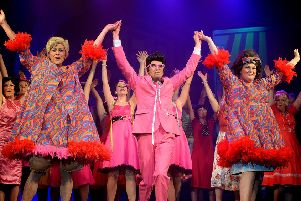 Edna Turnblad (Kev Sykes) Mr Pinky (Sam John) and Tracy Turnblad (Niamh Scott).