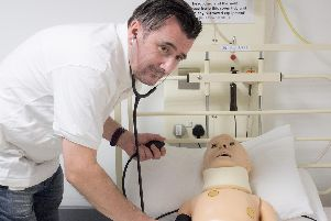 Senior Lecturer Donald Todd demonstrating in RGUs Clinical Skills Centre