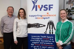 IYSF trustee Willie Lippe, IYSF sports development officer Claire McDonald and Hannah Miley