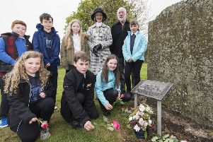 Lord Lieutenant of Kincardineshire, Carol Kinghorn, acknowledged the major project work of Inverbervie, Auchenblae and Glenbervie schools, and along with pupils from the three schools, laid flowers at the grave of Hercules Linton in the Old Kirkyard in Inverbervie. 'The Lord Lieutenant and pupils are pictured with project director Dave Ramsay by the grave of Hercules Linton designer of the famous tea clipper Cutty Sark.