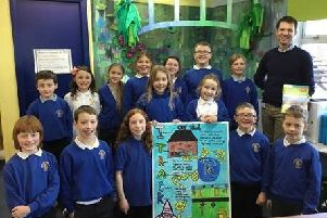 Andrew Bowie with Banchory-Devenick pupils