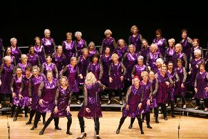 Aberdeen Chorus members on stage at St David's Hall, Cardiff