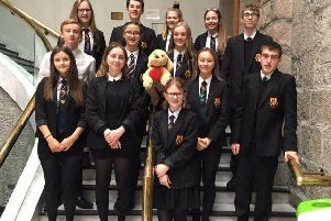 Pupils from Mackie Academy who won 10th annual Aberdeenshire 'mock trials' competition
