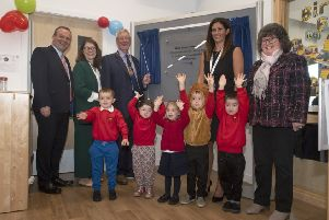 Aberdeenshire Provost Bill Howatson unveils the plaque at the nursery extension. Picture: Aberdeenshire Council